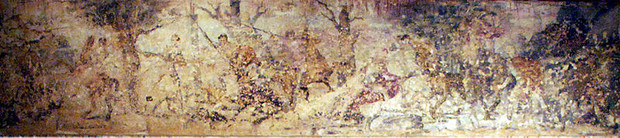 Hunt Mural (Vergina Tombs; see <a href='http://www.livius.org/a/greece/aegae/aegae_fresco.jpg'>reconstruction</a> of this mural)