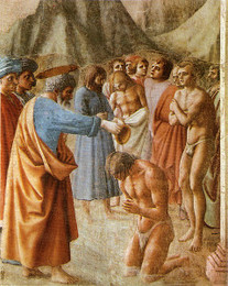 Baptism of the Neophytes, Masaccio
