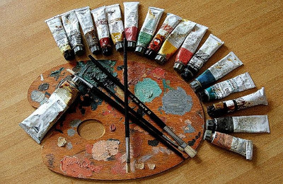 Paint Tubes (with palette and brushes)