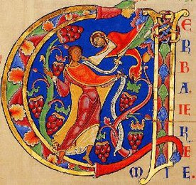Illumination from the Winchester Bible (historiated initial)