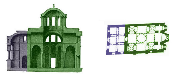 Plan of a Cross-in-square Church (in green, with front extension in purple)