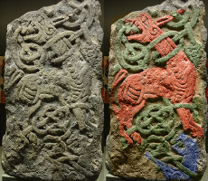 Insular Style Relief Carving (original and colourized)