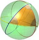 Spherical Triangle (shaded yellow area)