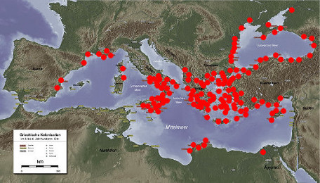 Ancient Greek Settlements (red dots)