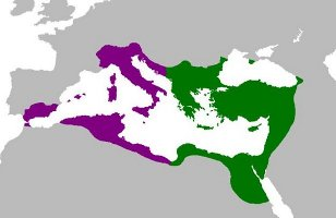 Peak Territory of the Byzantine Empire (purple regions conquered by Justinian)